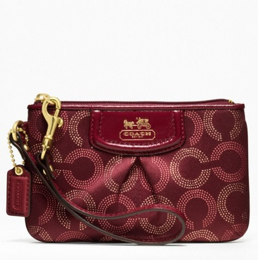 Coach Madison Dotted Op Art Small Wristlet - Crimson 48656, 220, Wristlets, Coach