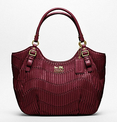 Coach Madison Gathered Leather Abigail Shoulder Bag - Bordeaux 18603, 3080, N/A, N/A