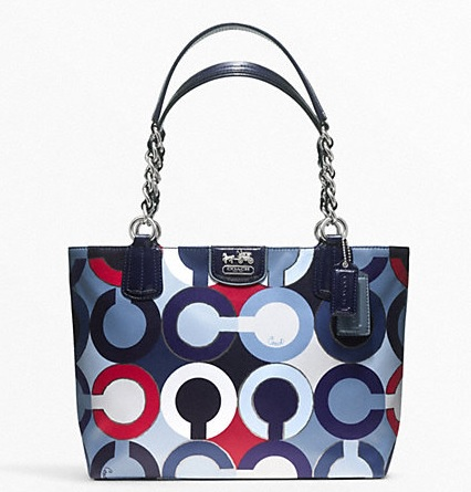 Coach Madison Graphic Op Art Metallic Tote - Navy Multi F21235, 820, Handbags, Coach