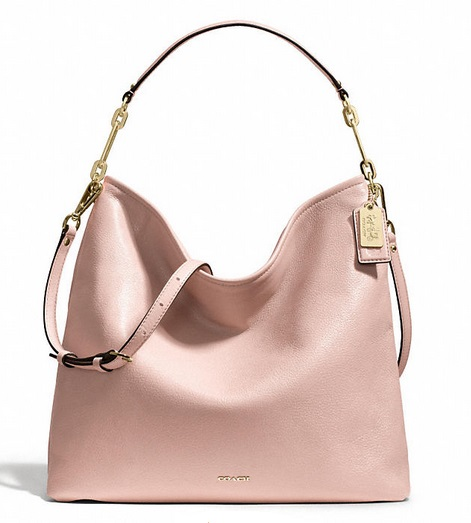 Coach Madison Hobo in Leather - Peach Rose 27858, 1420, Handbags, Coach