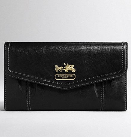 Coach Madison Leather Checkbook Wallet - Black 44378, 550, Wallets, Coach