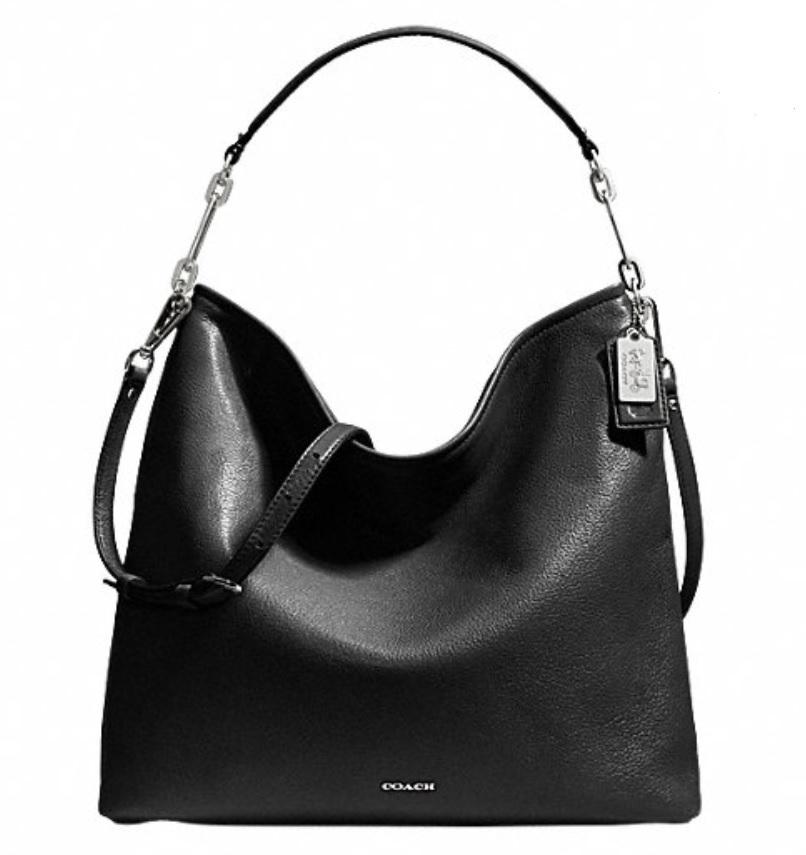 Coach Madison Leather Hobo - Black 27858, 980, Handbags, Coach