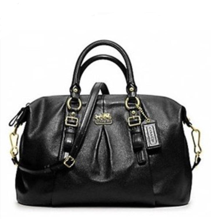 Coach Madison Leather Juliet Satchel - Black 21222, 890, Handbags, Coach