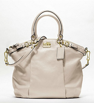 Coach Madison Leather Lindsey Satchel - Parchment 18641, 1290, Handbags, Coach