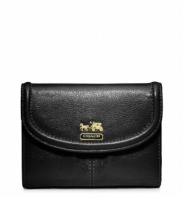 Coach Madison Leather Medium Wallet - Black 46608, 460, Wallets, Coach