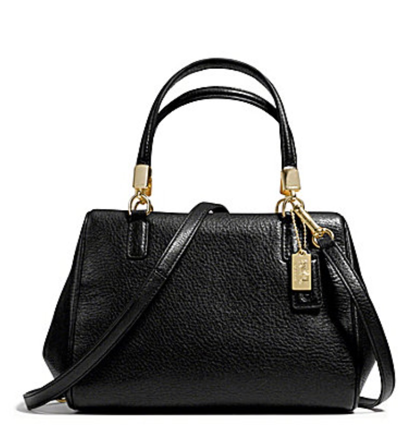 Coach Madison Leather Mini Satchel - Black 49720, 690, Handbags, Coach