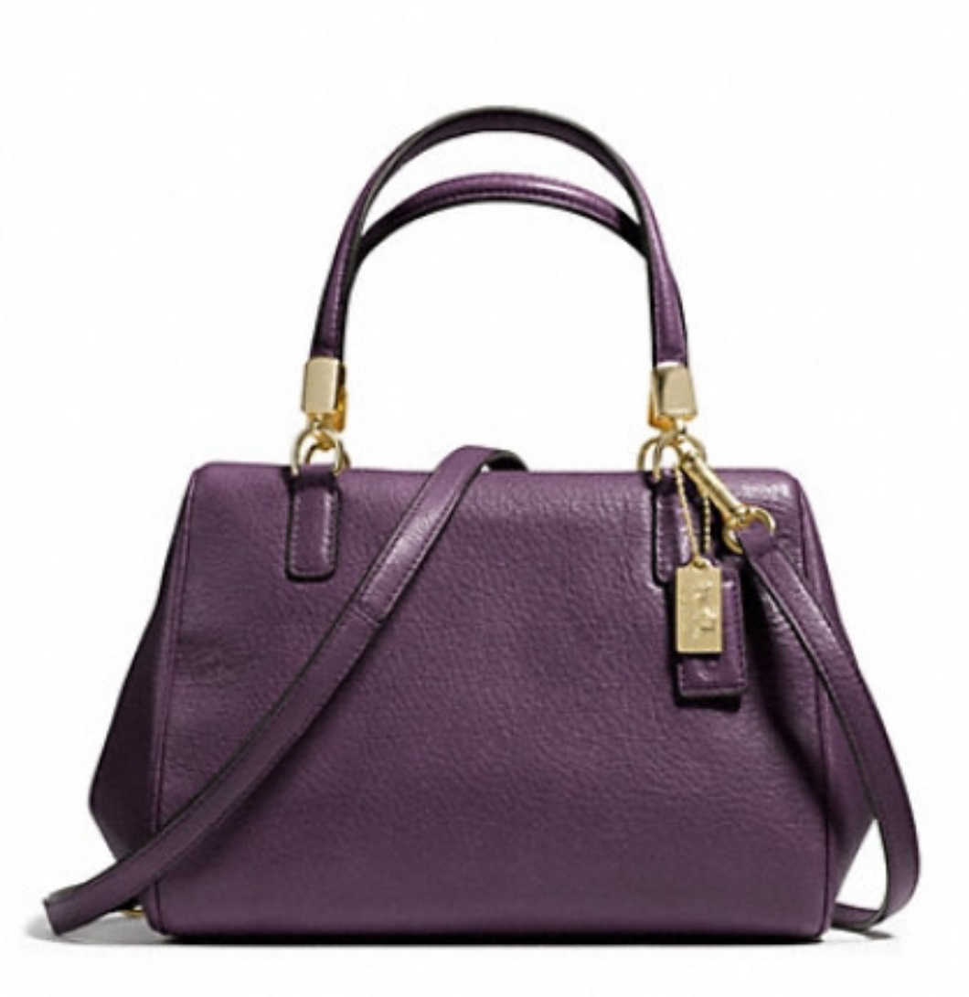 Coach Madison Leather Mini Satchel - Black Violet 49720, 690, Handbags, Coach