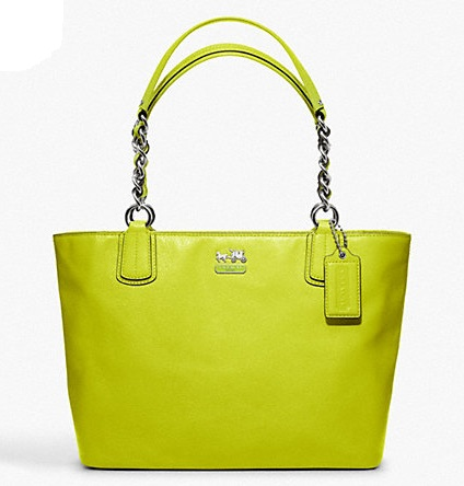 Coach Madison Leather Tote - Kiwi F20466, 890, Handbags, Coach
