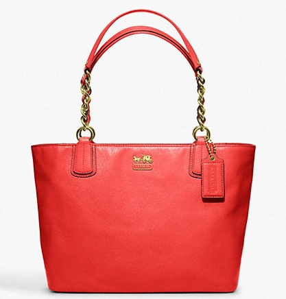 Coach Madison Leather Tote - Papaya 2 F20466, 890, Handbags, Coach