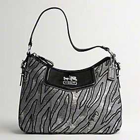 Coach Madison Lurex Zebra Top Handle Pouch - Black Multi 44407, 660, N/A, N/A