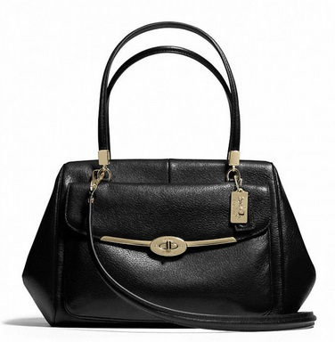 Coach Madison Madeline East West Satchel in Leather - Black 25166, 1150, Handbags, Coach