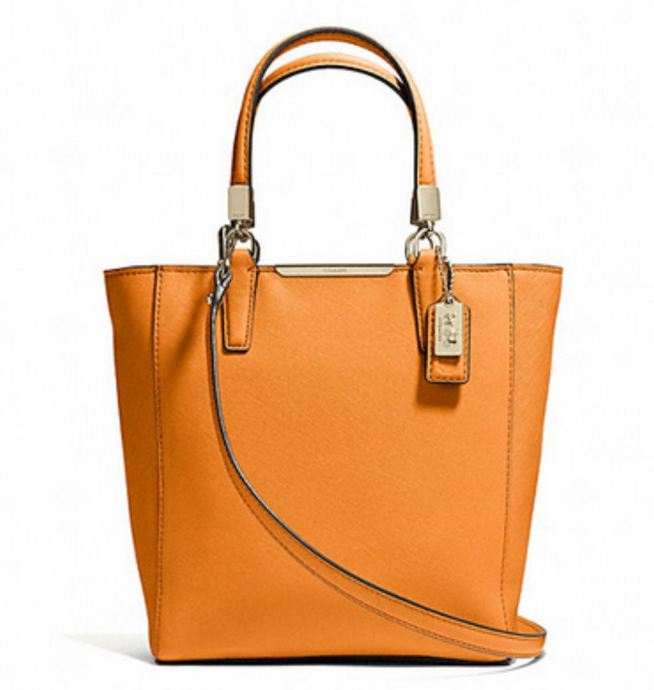 Coach Madison Mini North South Bonded in Saffiano Leather - Bright Mandarin 29001, 790, Handbags, Coach