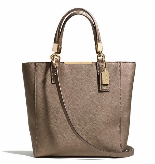 Coach Madison Mini North South Bonded in Saffiano Leather - Bronze 29001, 980, Handbags, Coach