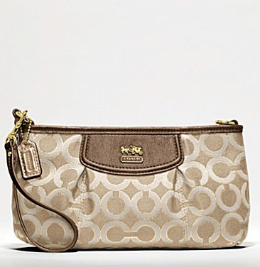 Coach Madison Op Art Metallic Large Wristlet - Lt Khaki Beige Brown 46666, 400, Madison Collection - November 2011, Coach