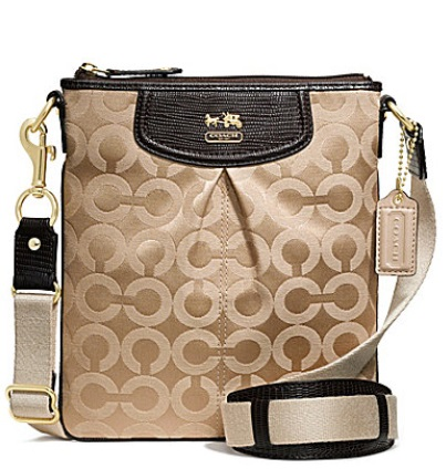 Coach Madison Op Art Sateen Classic Swingpack - Khaki Mahogany Lizard 48505, 450, Handbags, Coach
