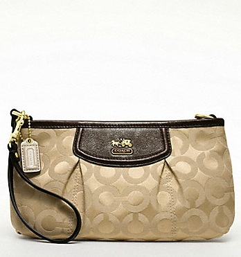 Coach Madison Op Art Sateen Large Wristlet - Khaki Mahogany 46638, 400, Madison Collection - September 2011, Coach
