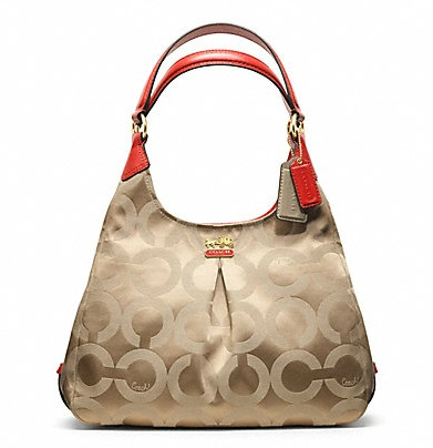 Coach Madison Op Art Sateen Maggie - Light Khaki Papaya 21125, 950, Handbags, Coach