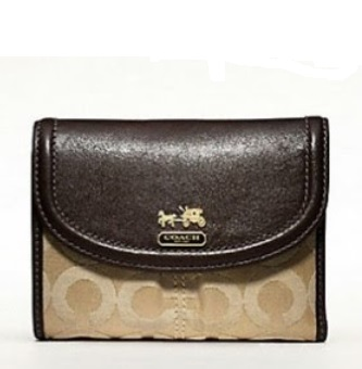 Coach Madison Op Art Sateen Medium Wallet - Khaki Mahogany 46643, 430, Wallets, Coach