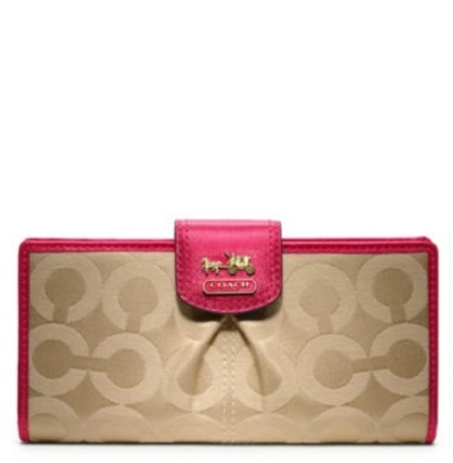 Coach Madison Op Art Sateen Skinny Wallet - Khaki Punch 46636, 450, Wallets, Coach