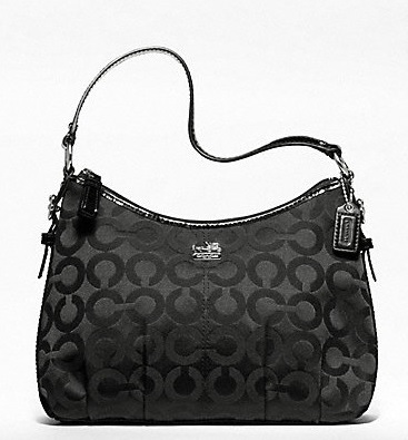 Coach Madison Op Art Sateen Top Handle Pouch - Black 46854, 490, Handbags, Coach