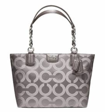 Coach Madison Op Art Sateen Tote - Oyster 20481, 820, Handbags, Coach