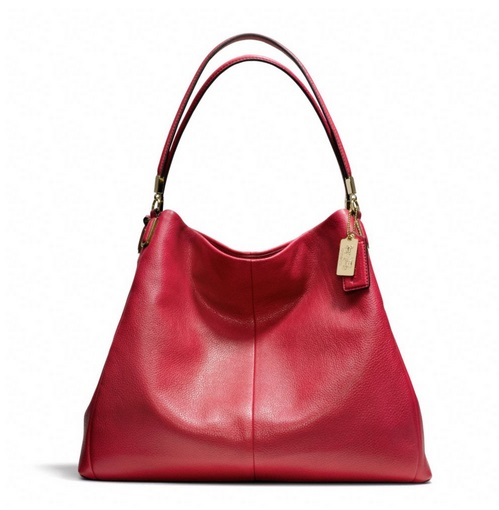 Coach Madison Phoebe Shoulder Bag in Leather - Scarlet 24621, 1150, Handbags, Coach