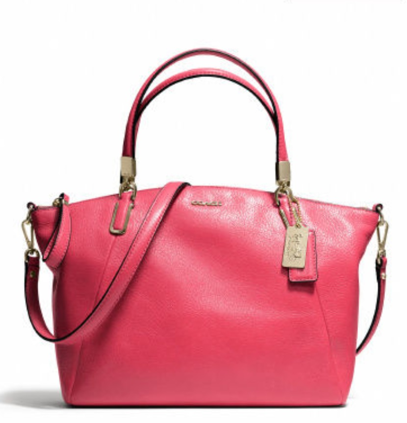 Coach Madison Small Kelsey Satchel in Leather - Pink Scarlet 28095, 890, Handbags, Coach