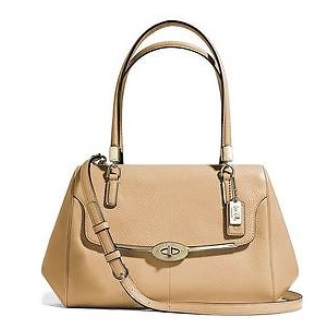 Coach Madison Small Madeline East West Satchel in Leather - Camel 25169, 990, Handbags, Coach