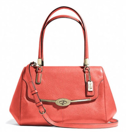 Coach Madison Small Madeline East West Satchel in Leather - Vermillion 25169, 990, Handbags, Coach