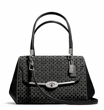 Coach Madison Small Madeline East West Satchel in Op Art Needlepoint Fabric - Black 25215, 920, Handbags, Coach