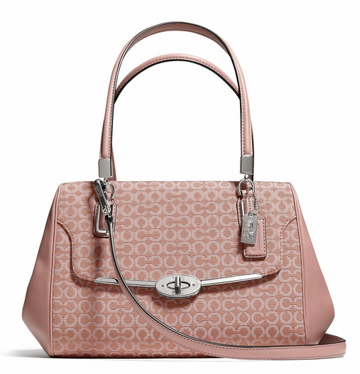 Coach Madison Small Madeline East West Satchel in Op Art Needlepoint Fabric - Tearose 2 25215, 920, Handbags, Coach