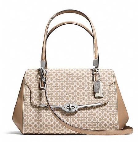 Coach Madison Small Madeline East West Satchel in Op Art Needlepoint Fabric - Warm Khaki 25215, 920, Handbags, Coach