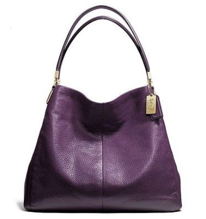 Coach Madison Small Phoebe Shoulder Bag in Leather - Black Violet 26224, 1090, Handbags, Coach