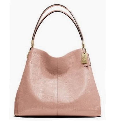 Coach Madison Small Phoebe Shoulder Bag in Leather - Peach Rose 26224, 1090, Handbags, Coach