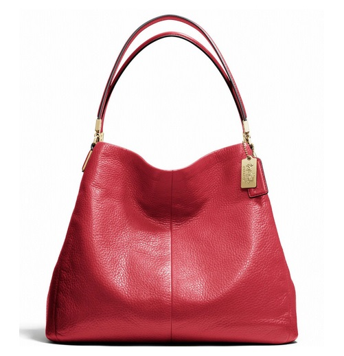 Coach Madison Small Phoebe Shoulder Bag in Leather - Scarlet 26224, 1090, Handbags, Coach