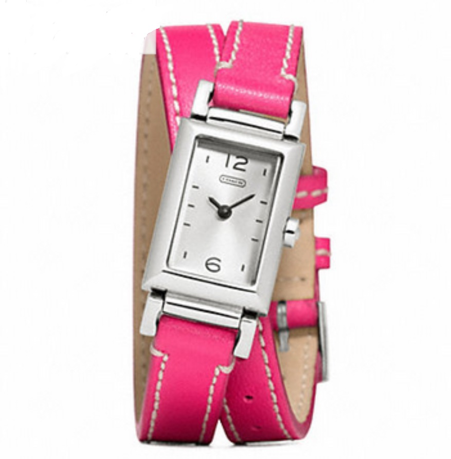 Coach Madison Stainless Steel Wrap Stripe Watch - Pink W1092, 490, Accessories, Coach
