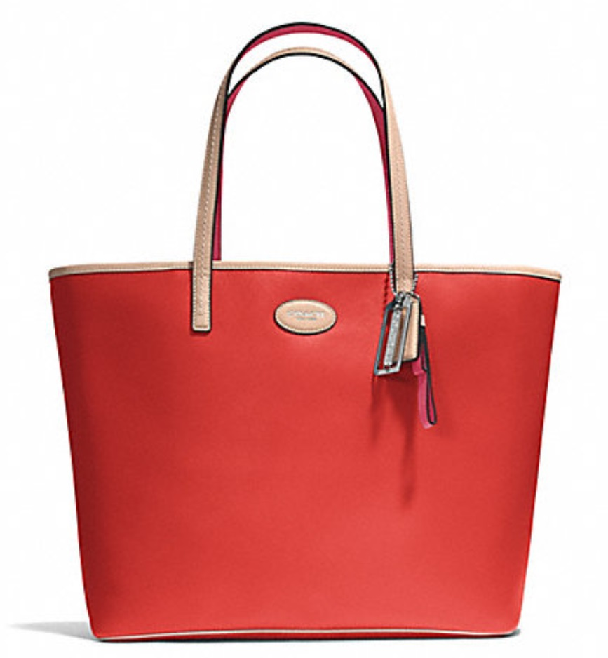 Coach Metro Leather Tote - Vermillion F31326, 620, Handbags, Coach
