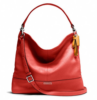 Coach Park Leather Hobo - Vermillion F23293, 890, Handbags, Coach