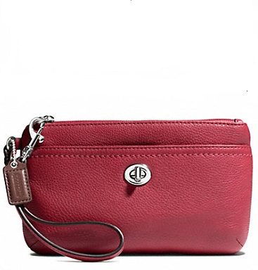 Coach Park Leather Medium Wristlet - Black Cherry F49472, 290, Wristlets, Coach