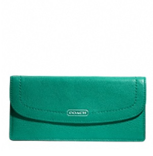 Coach Park Leather Soft Wallet - Bright Jade F49150, 390, Wallets, Coach
