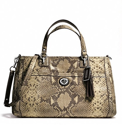 Coach Park Python Leather Carryall - Grey F24384, 1090, Handbags, Coach