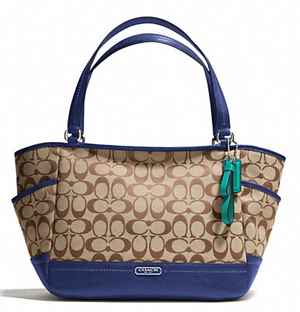 Coach Park Signature Carrie - Khaki French Blue F23297, 790, Handbags, Coach