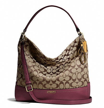Coach Park Signature Hobo - Khaki Burgundy F23279, 790, Handbags, Coach