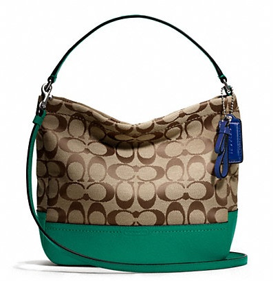 Coach Park Signature Mini Duffle Crossbody - Khaki Bright Jade F49158, 600, Handbags, Coach