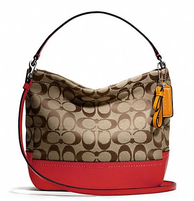 Coach Park Signature Mini Duffle Crossbody - Khaki Vermillion F49158, 600, Handbags, Coach