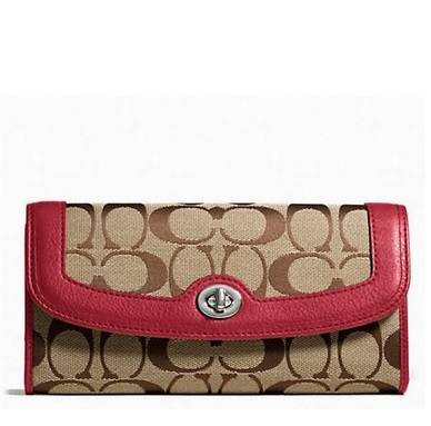 Coach Park Signature Turnlock Slim Envelope Wallet - Khaki Black Cherry F49165, 480, Wallets, Coach