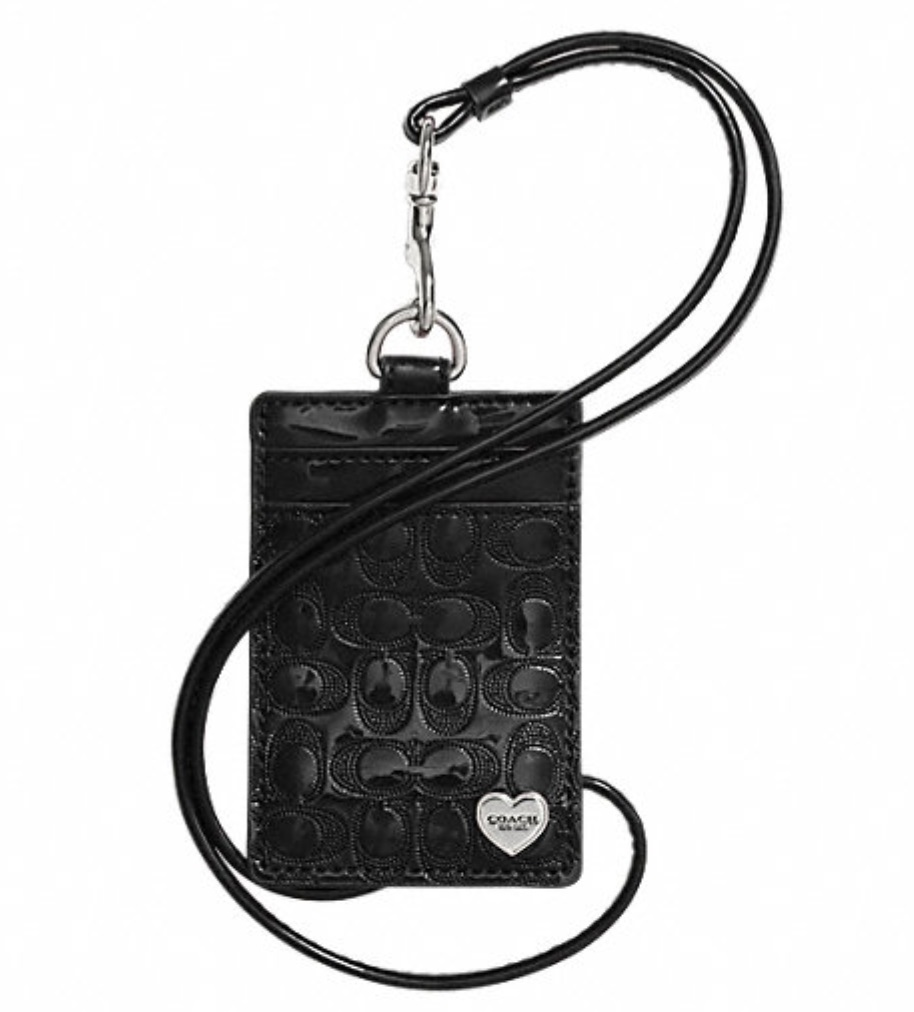 Coach Perforated Embossed Liquid Gloss Lanyard ID Case - Black F62406, 170, Accessories, Coach