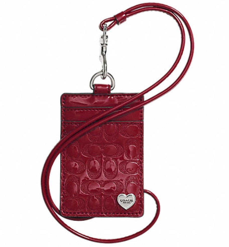 Coach Perforated Embossed Liquid Gloss Lanyard ID Case - Red F62406, 170, Accessories, Coach