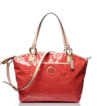 Coach Peyton Embossed Patent Pocket Tote - Papaya Tan F20028, 750, Handbags, Coach