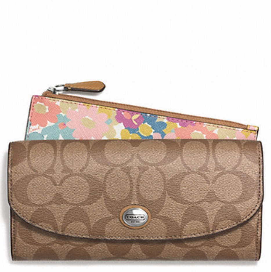Coach Peyton Floral Slim Envelope Wallet with Pouch - Khaki Multi F51206, 490, Wallets, Coach